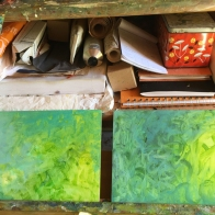 katharine-wallace-wip-painting-in-the-studio-putting-in-some-backgrounds