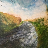 katharine-wallace-at-the-top-of-cuckoo-hill-with-shadows-oils-and-charcoal-on-canvas-62x62cm-painting-2020