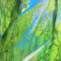 kath-wallace-artist-playing-with-liquid-oil-paint-pva-and-pastel-for-summer-hedge-series
